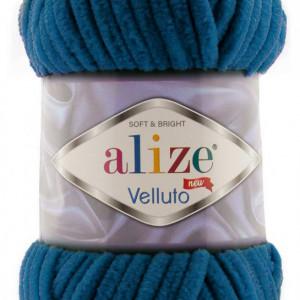 Fir de tricotat sau crosetat - Fire tip mohair din acril ALIZE VELLUTO ALBASTRU 646