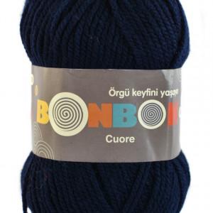 Fir de tricotat sau crosetat - Fire tip mohair din acril BONBON CUORE - BLEUMARIN - 98666