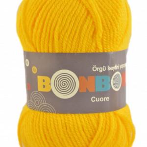 Fir de tricotat sau crosetat - Fire tip mohair din acril BONBON CUORE - GALBEN - 98598
