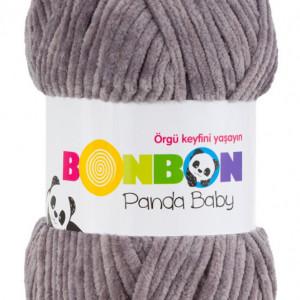 Fir de tricotat sau crosetat - Fire tip mohair din acril NAKO BONBON PANDA BABY GRI 3095