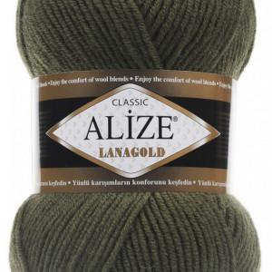 Fir de tricotat sau crosetat - Fire tip mohair din lana 49% si acril 51% Alize Lanagold Kaki 29