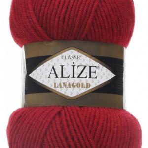 Fir de tricotat sau crosetat - Fire tip mohair din lana 49% si acril 51% Alize Lanagold Rosu 56