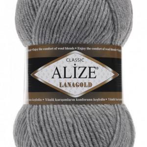 Fir de tricotat sau crosetat - Fire tip mohair din lana 49% si acril 51% Alize Lanagold Gri 21