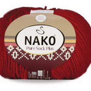 Fir de tricotat sau crosetat - Fire tip mohair din lana si polyamida Nako PURE SOCK PLUS ROSU 298