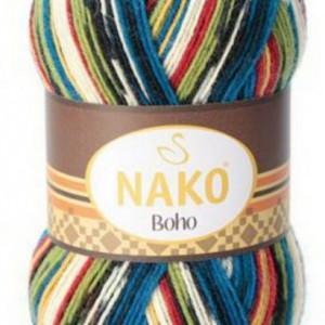 Fir de tricotat sau crosetat - Fire tip mohair din lana si polyamida Nako BOHO mix 81266