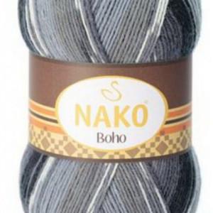 Fir de tricotat sau crosetat - Fire tip mohair din lana si polyamida Nako BOHO mix 81258