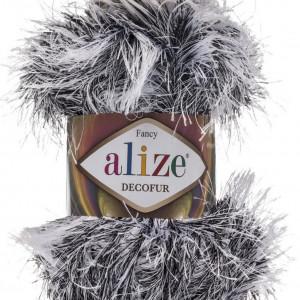 Fir de tricotat sau crosetat - FANCY - ALIZE DECOFUR ALB + NEGRU 1366
