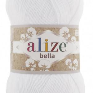 Fir de tricotat sau crosetat - Fir BUMBAC 100% ALIZE BELLA 100 - ALB 55