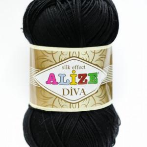 Fir de tricotat sau crosetat - Fir microfibra ALIZE DIVA NEGRU 60