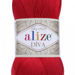 Fir de tricotat sau crosetat - Fir microfibra ALIZE DIVA ROSU 106