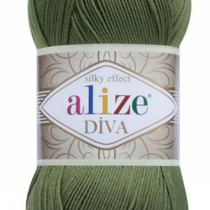 Fir de tricotat sau crosetat - Fir microfibra ALIZE DIVA VERDE 79