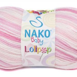 Fir de tricotat sau crosetat - Fire tip mohair din acril degrade Nako Lolipop roz 80430