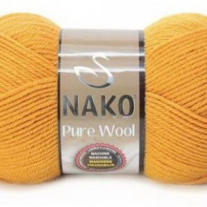 Fir de tricotat sau crosetat - Fire tip mohair din lana 100% Nako PURE WOOL GALBEN 10429