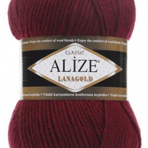 Fir de tricotat sau crosetat - Fire tip mohair din lana 49% si acril 51% Alize Lanagold Grena 57