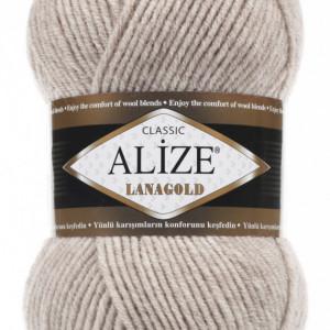 Fir de tricotat sau crosetat - Fire tip mohair din lana 49% si acril 51% Alize Lanagold Bej 585