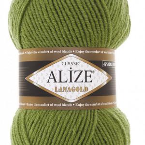 Fir de tricotat sau crosetat - Fire tip mohair din lana 49% si acril 51% Alize Lanagold Verde 485