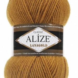 Fir de tricotat sau crosetat - Fire tip mohair din lana 49% si acril 51% Alize Lanagold Galben 645