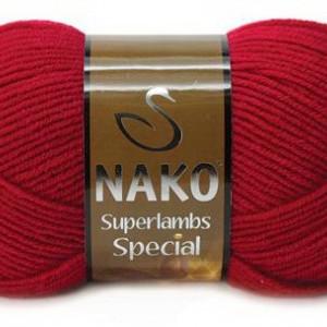 Fir de tricotat sau crosetat - Fire tip mohair din lana 50% si acril 50% Nako Superlambs Special rosu 4426
