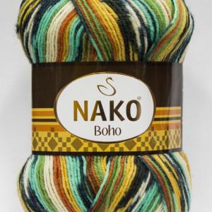 Fir de tricotat sau crosetat - Fire tip mohair din lana si polyamida Nako BOHO mix 81263