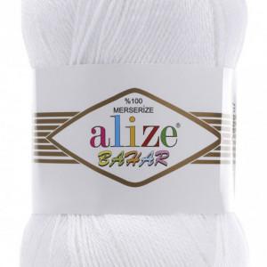 Fir de tricotat sau crosetat - Fir BUMBAC 100% ALIZE BAHAR ALB 55