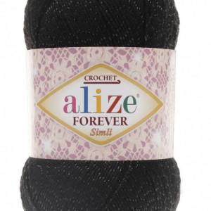 Fir de tricotat sau crosetat - Fir microfibra ALIZE FOREVER SIMLI NEGRU 60