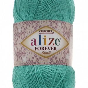 Fir de tricotat sau crosetat - Fir microfibra ALIZE FOREVER SIMLI VERDE TURQUAZ 610