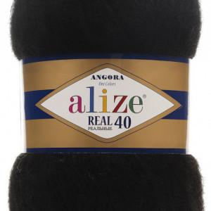 Fir de tricotat sau crosetat - Fire tip mohair din acril Alize Angora Real 40 Negru 60