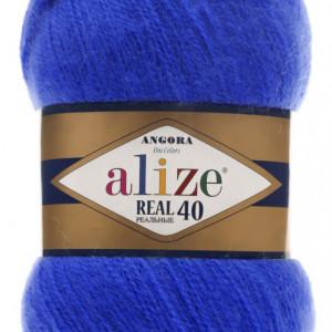 Fir de tricotat sau crosetat - Fire tip mohair din acril Alize Angora Real 40 Albastru 141