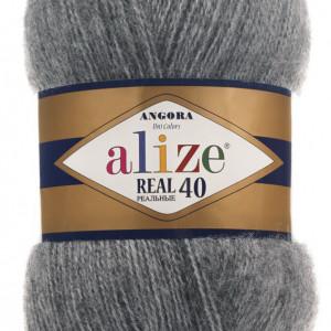 Fir de tricotat sau crosetat - Fire tip mohair din acril Alize Angora Real 40 Gri melanj 182