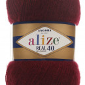 Fir de tricotat sau crosetat - Fire tip mohair din acril Alize Angora Real 40 Grena 57