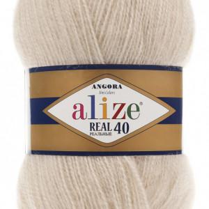 Fir de tricotat sau crosetat - Fire tip mohair din acril Alize Angora Real 40 Cream 67