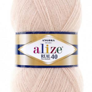 Fir de tricotat sau crosetat - Fire tip mohair din acril Alize Angora Real 40 Bej 404