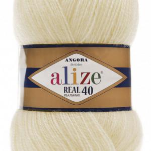 Fir de tricotat sau crosetat - Fire tip mohair din acril Alize Angora Real 40 Cream 01
