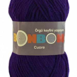 Fir de tricotat sau crosetat - Fire tip mohair din acril BONBON CUORE - MOV - 98290