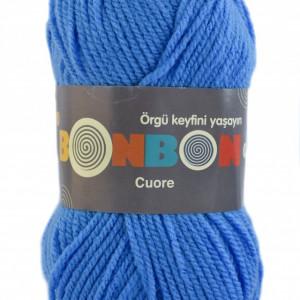 Fir de tricotat sau crosetat - Fire tip mohair din acril BONBON CUORE - ALBASTRU - 98597