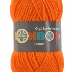 Fir de tricotat sau crosetat - Fire tip mohair din acril BONBON CUORE - PORTOCALIU - 98215