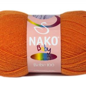 Fir de tricotat sau crosetat - Fire tip mohair din acril Nako Baby PORTOCALIU 10157