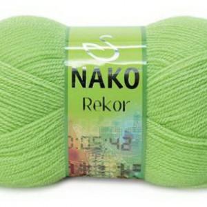 Fir de tricotat sau crosetat - Fire tip mohair din acril premium Nako REKOR VERDE 5086