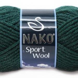 Fir de tricotat sau crosetat - Fire tip mohair din acril si lana Nako Sport Wool Verde 1873