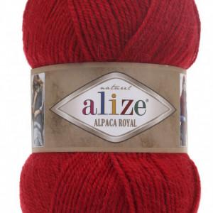 Fir de tricotat sau crosetat - Fire tip mohair din alpaca 30%, lana 15%, acril 55% Alize Alpaca Royal ROSU 56
