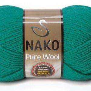 Fir de tricotat sau crosetat - Fire tip mohair din lana 100% Nako PURE WOOL VERDE 10327