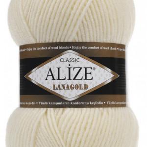 Fir de tricotat sau crosetat - Fire tip mohair din lana 49% si acril 51% Alize Lanagold Cream 01