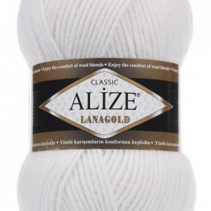 Fir de tricotat sau crosetat - Fire tip mohair din lana 49% si acril 51% Alize Lanagold ALB 55