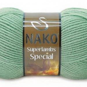 Fir de tricotat sau crosetat - Fire tip mohair din lana 50% si acril 50% Nako Superlambs Special VERDE 10483