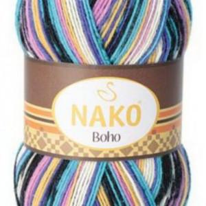 Fir de tricotat sau crosetat - Fire tip mohair din lana si polyamida Nako BOHO mix 81264