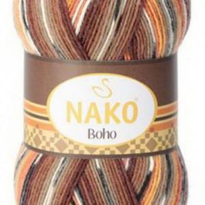 Fir de tricotat sau crosetat - Fire tip mohair din lana si polyamida Nako BOHO mix 81257