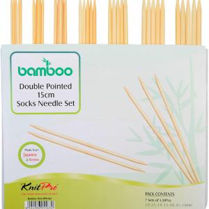 KnitPro BAMBOO - set andrele pentru sosete - 15 cm