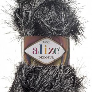 Fir de tricotat sau crosetat - FANCY - ALIZE DECOFUR NEGRU + ALB 1378