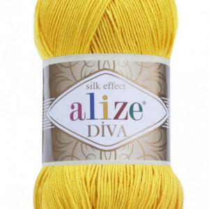 Fir de tricotat sau crosetat - Fir microfibra ALIZE DIVA GALBEN 110