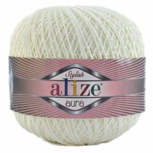 Fir de tricotat sau crosetat - Fire Alize Aura - Alb - 55